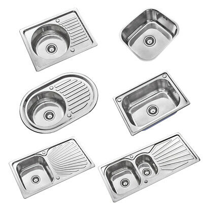 Stainless Steel Kitchen Sink Commercial Catering Single Double Bowl Drainer Kits • 29.99£