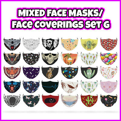 COLOURED Unicorn Mixed Pattern Face Mask Covering ADULTS MASKS Set G • 7.99£