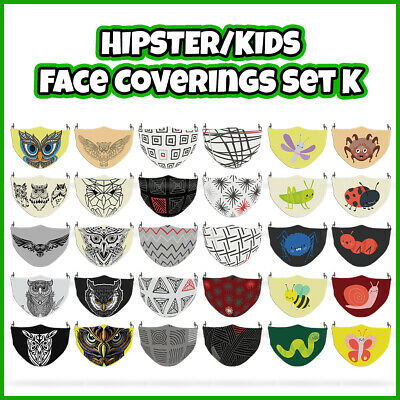 £7.99 • Buy COLOURED Mixed Hipster Reusable Face Mask Covering ADULTS MASKS Set K