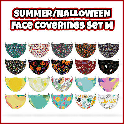 COLOURED Sumer/Halloween Reusable Face Mask Covering ADULTS MASKS Set M • 7.99£