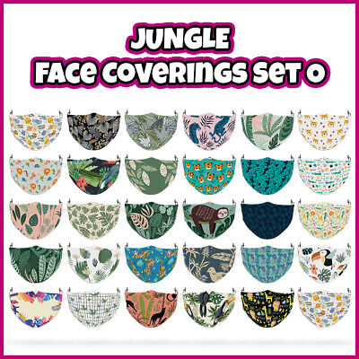 COLOURED Jungle Theme Reusable Face Mask Covering ADULTS MASKS Set O • 7.99£