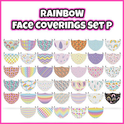 Rainbow Theme Reusable Face Mask Covering KIDS AND ADULTS MASKS Set P • 7.99£