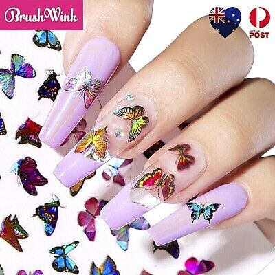 AU4.99 • Buy Holographic Butterfly Nail Decor Decal Sticker Nail Art Decoration Nail Wrap
