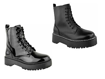 £27.99 • Buy Womens Lace Up Ankle Boots Chunky Platform Ladies Zip Goth Punk Booties Shoes