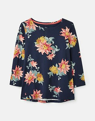Joules Womens 212062 3/4 Length Sleeve Jersey Printed Top - Navy Clematis Floral • 9.95£