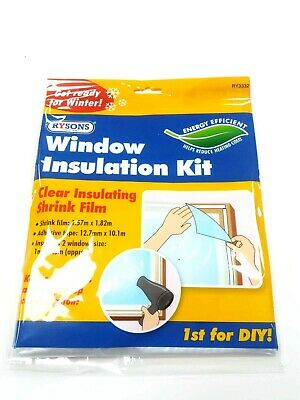£2.99 • Buy Window Insulation Kit Shrink Fit Double Glazing Film Reduce Heating Costs Cold