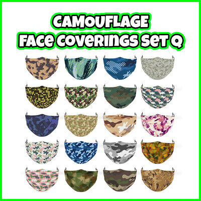 COLOURED Camouflage Reusable Face Mask Covering ADULTS MASKS Set Q • 7.99£