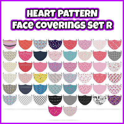 £7.99 • Buy COLOURED Heart Pattern Reusable Face Mask Covering ADULTS MASKS Set R