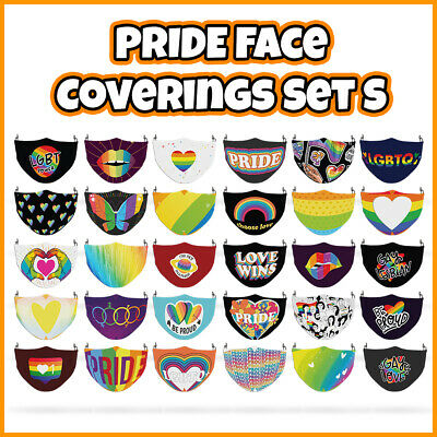 COLOURED Pride Rainbow Reusable Face Mask Covering ADULTS MASKS Set S • 7.99£