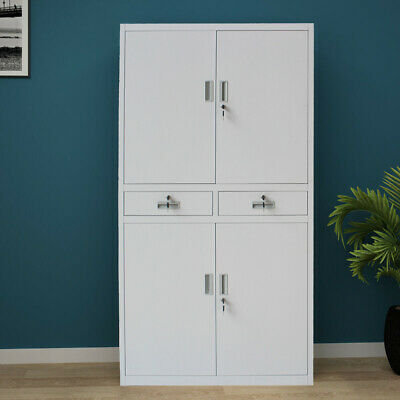 Office Storage Cupboard Metal Filing Cabinet 2 Drawer 4 Doors Lockable 180CM UK • 145.99£