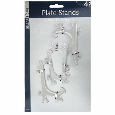 4 X Clear Plastic Display Plate Stand For Picture Frame Photo Pedestal Holder • 2.99£