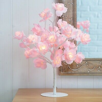 New Beautiful Pink Rose Bouquet 32 LED's Tree Table Lamp Lights Wedding Party • 24.99£