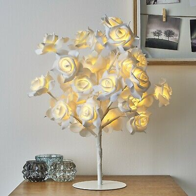 New Beautiful White Rose Bouquet 32 LED's Tree Table Lamp Bedside & Party Light • 24.99£