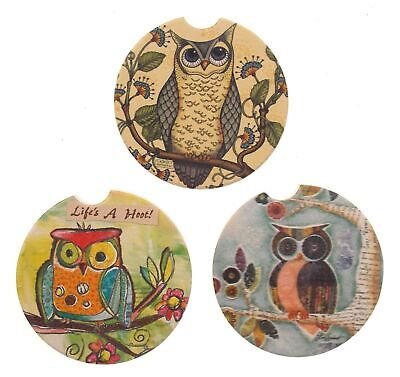 £2.89 • Buy Owl Stone Car Coasters Set 3 CounterArt Absorbent Wise Watchful Friend Hoot