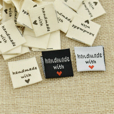 100x Handmade With Love Clothing Labels Embroidery Heart Woven Garment Tags Lots • 3.09£