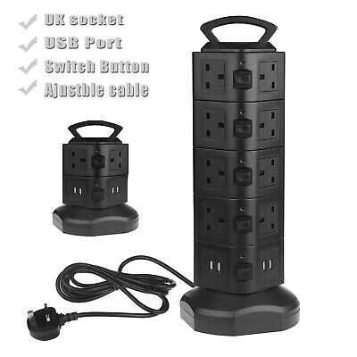 18 Way Extension Lead 3Meters Cable Surge Protected Tower Power Socket USB Port • 20.99£