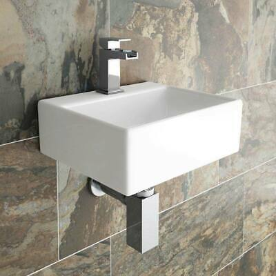 Small Cloakroom Basin Modern Square Ceramic Wall Mounted Mounted Bathroom Sink • 34.99£