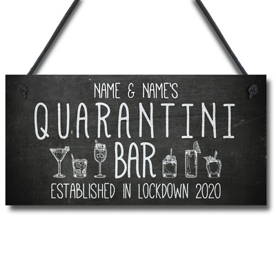 £4.75 • Buy Personalised Quarantine Funny Home Bar Sign Cocktail Martini Gift Bar Decor Gift