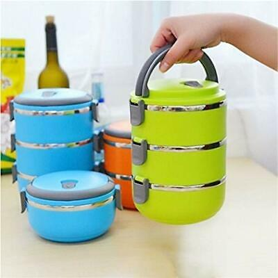 3 Compartment Lunch Box Food Container 2.1 Littre Picnic Office Steel Bowl Set  • 8.39£
