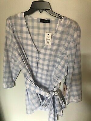 $ CDN72.54 • Buy NWT Ivanka Trump Blue/White Checked Belted Top With Pearl Buttons - SIze XL