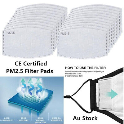 AU9.95 • Buy Adult PM2.5 Face Mask Filter Qualified Anti Pollution Filters Pad 5 Layers
