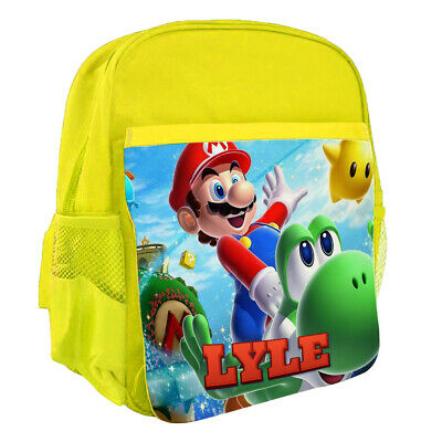 Personalised Any Name Kids Yellow Backpack Super Mario Children School Bag 40 • 16.95£