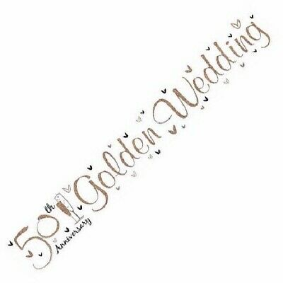 9ft 50th Anniversary Golden Wedding Foil Banner Party Decorations  • 1.99£