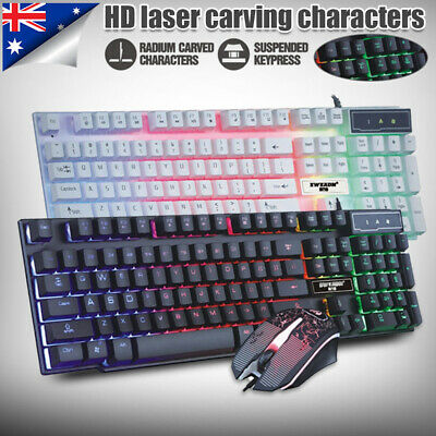 AU29.99 • Buy LED Gaming Keyboard And Mouse Combo Set USB Ergonomic For PC Laptop PS4 Xbox ONE