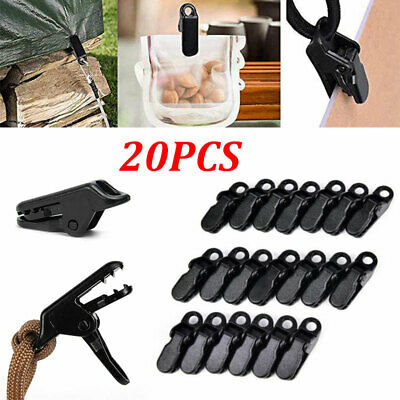 20Pcs Reusable Tent Tarp Tarpaulin Clip Clamp Buckle Tool Heavy Camping Outdoor • 5£