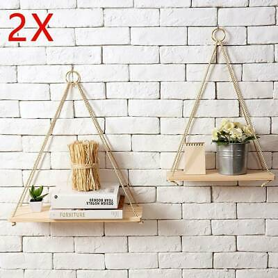 2 Rustic Solid Wood Rope Hanging Wall Shelf Vintage Storage Floating Home New • 7.99£