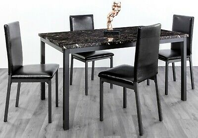 Marble Effect MDF Budget Dining Set In Black Brown And Grey Faux Leather Chairs • 99£