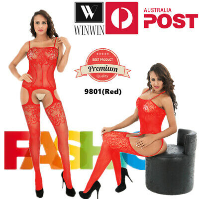 AU7.95 • Buy Women Red Lace Sexy Lingerie Crotchless Embroidery Nightwear Leotard Stocking