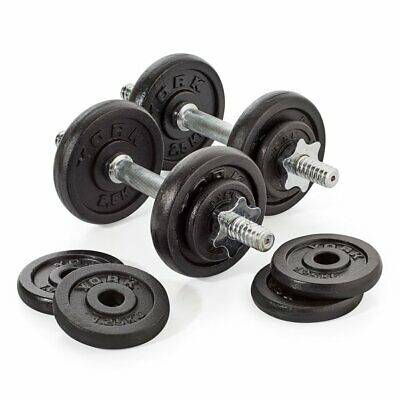 York 20kg Dumbbell Set Adjustable Weights W/ 12 Cast Iron Plates, Bars & Collars • 119.99£