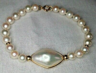$179.99 • Buy Excellent Condition! Jeweler Made Cultured Pearl Bracelet W/ Mabe Pearl Station
