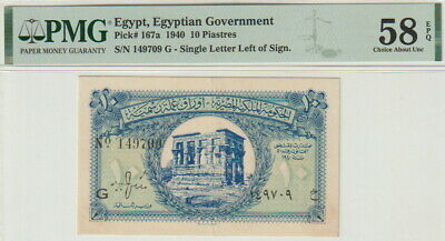 $135 • Buy Egypt 10 Piastres Banknote,1940 Choice About Uncirculated Grade-58-PMG Pic#167-A