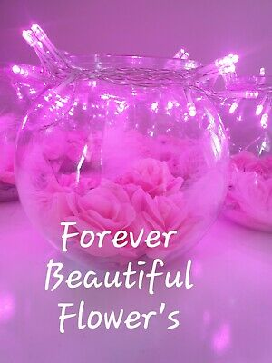 Table Centrepieces Pink Flowers With Pink Fairy Lights!  • 6.99£