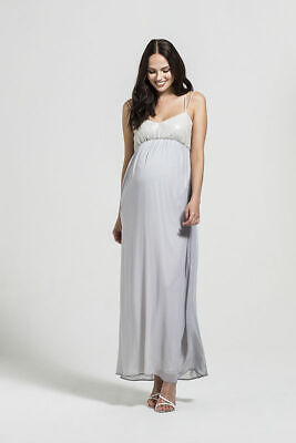 £12 • Buy Rock A Bye Rosie Maternity Grey Smart Occasion Formal Maxi Dress All Sizes