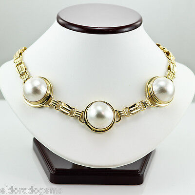 $8558 • Buy Designer Large White Mabe Pearl Necklace Heavy 121.5 Gramm 18k Yellow Gold 16
