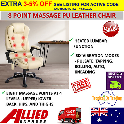AU272.95 • Buy Artiss Massage Office Chair Heated 8 Point PU Leather Computer Chairs Recliner