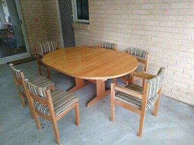 AU250 • Buy Retro Furniture, 70's Pine Dining Table & Chairs