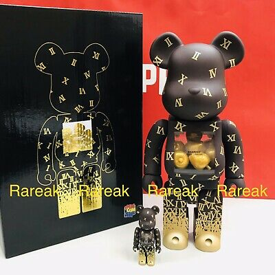 $852.99 • Buy Medicom Be@rbrick 2019 Shareef Golden 400% + 100% Gold Apple Bearbrick 2pcs