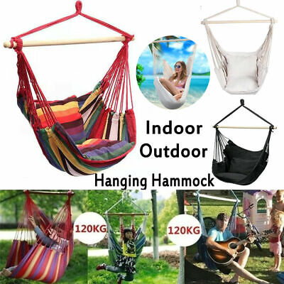 Hanging Hammock Chair Garden Swing Seat Tree Poly Cotton Portable Camping Travel • 25.70£