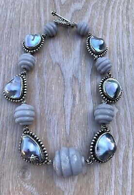 $1675 • Buy Stephen Dweck Sterling Silver Mabe Blister Pearl & Chalcedony Necklace