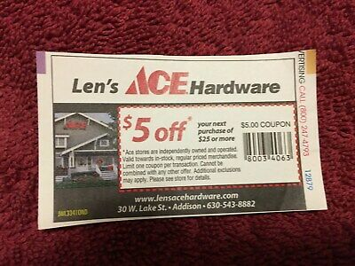 $8.95 • Buy Lot Of 10 Ace Hardware Coupons $5 Off $25 (use At Home Depot, Lowes, Etc)
