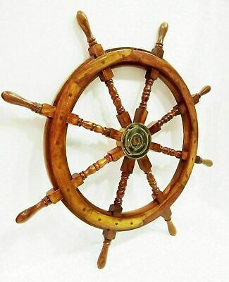 £99 • Buy Antique Pirates Ship's Wheel 6 Spoke With Brass Center Section 36  Wooden Wheel