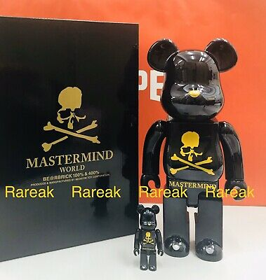 $864.99 • Buy Medicom Bearbrick Mastermind World Japan Black Gold Chrome 400% + 100% Be@rbrick