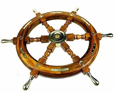 £65 • Buy Antique 18  Wooden Wheel Pirates Ship's Wheel Brass 6 Spoke And Center Section