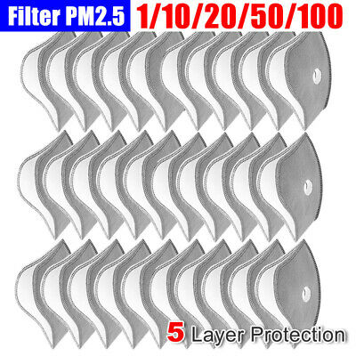 $ CDN28.80 • Buy 10-100X Cycling Mask Filter Replacement 5 Layer Active Carbon Filters Protection