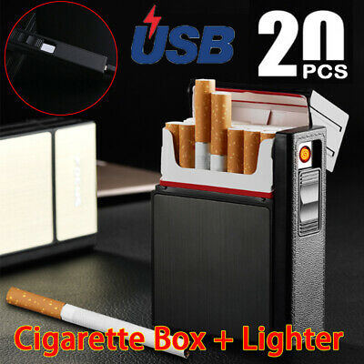 20X USB Rechargeable Electric USB Cigarette Case Lighter Dampproof Windproof Box • 7.21£