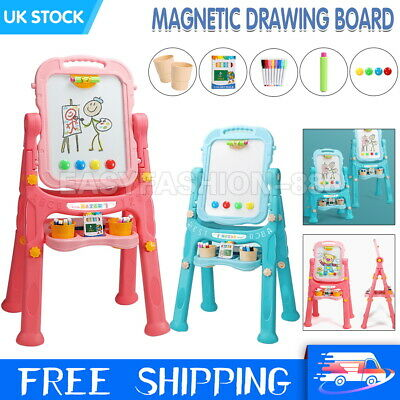Kids Double Sided Art Easel Magnetic Chalkboard Drawing Writing Toy Xmas Gift UK • 23.99£